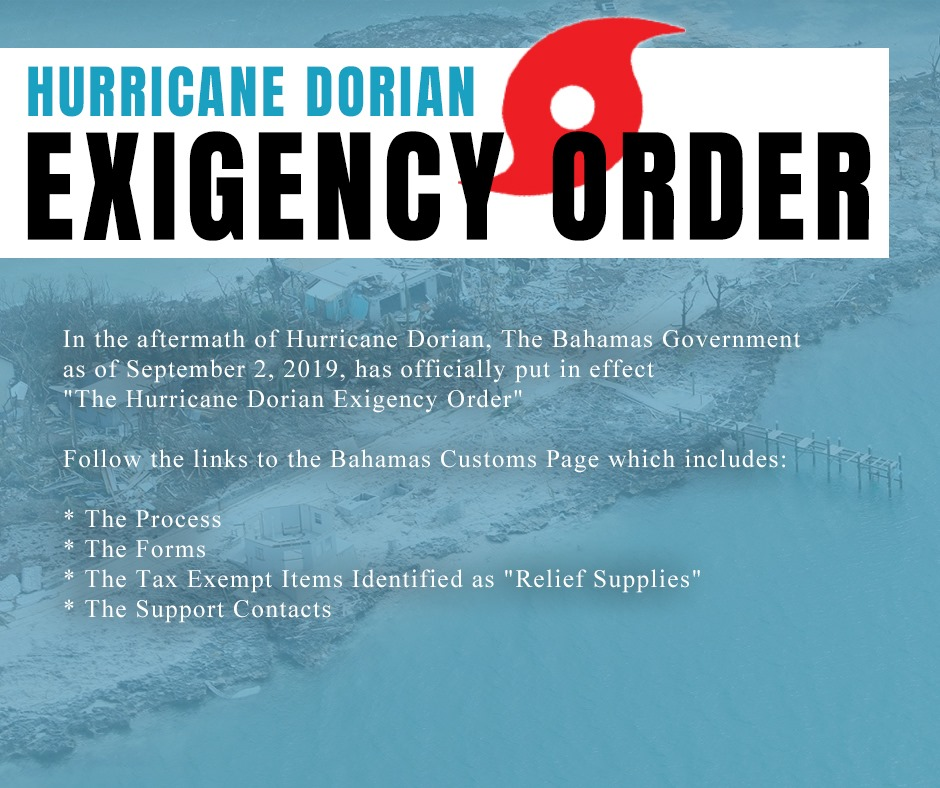 Hurricane Dorian Exigency Order Now in Effect