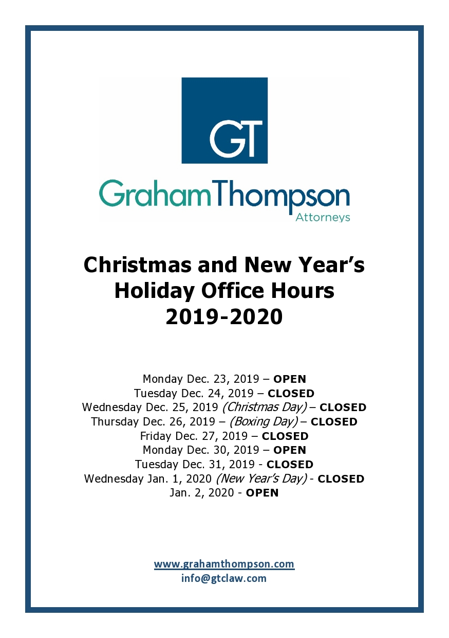 Christmas and New Year's 2019-2020 Holiday Office Hours