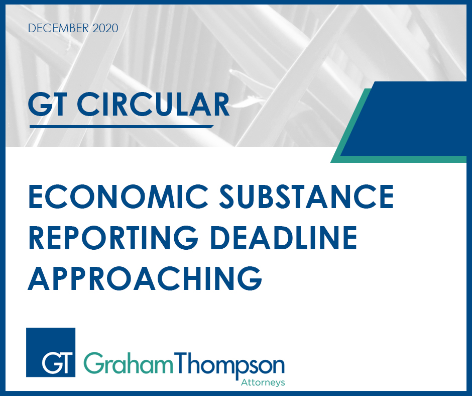 ECONOMIC SUBSTANCE REPORTING DEADLINE APPROACHING